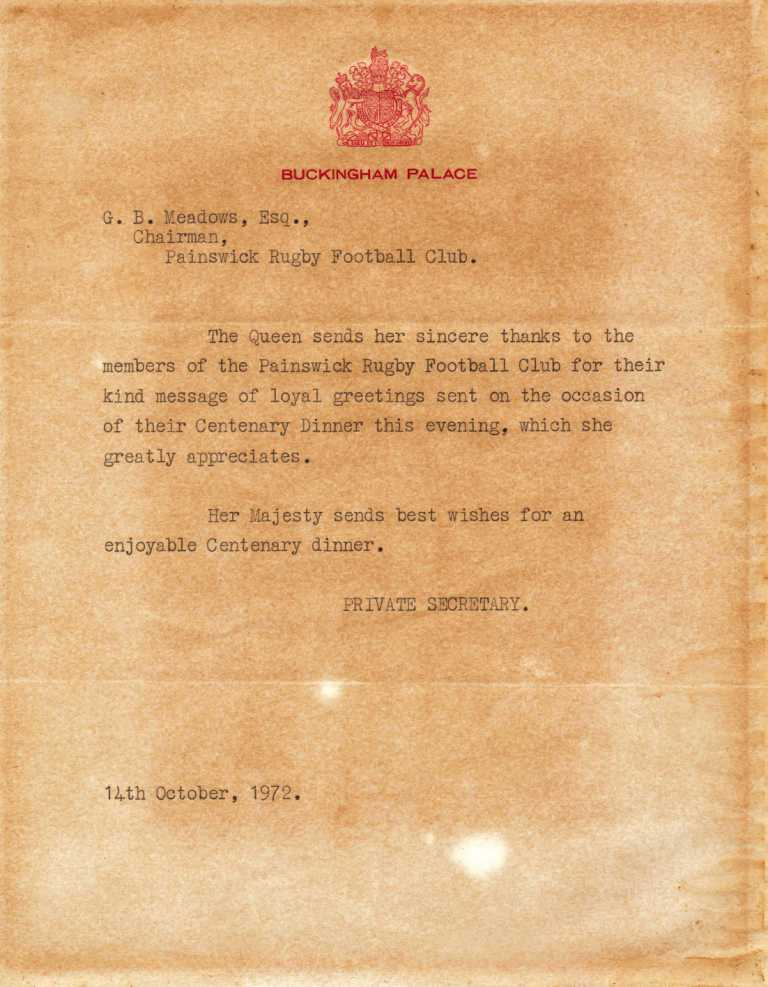 Painswick RFC (01-03) 1972 Letter from Buckingham Palace